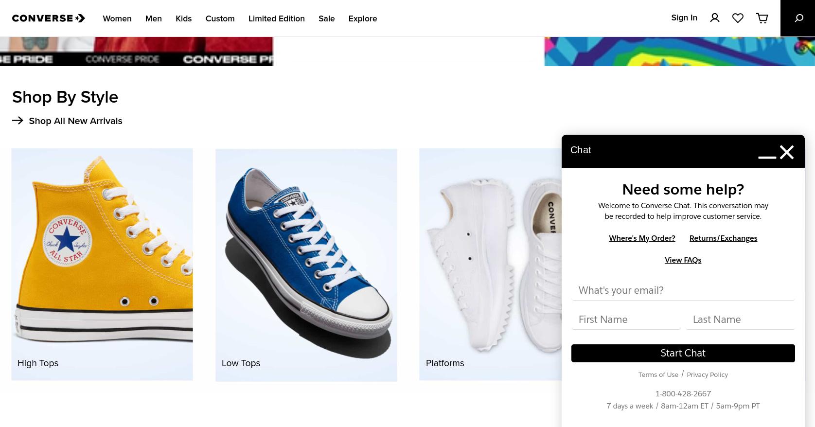 Un ejemplo de un chatbot de comercio electrónico en el sitio web de Converse.