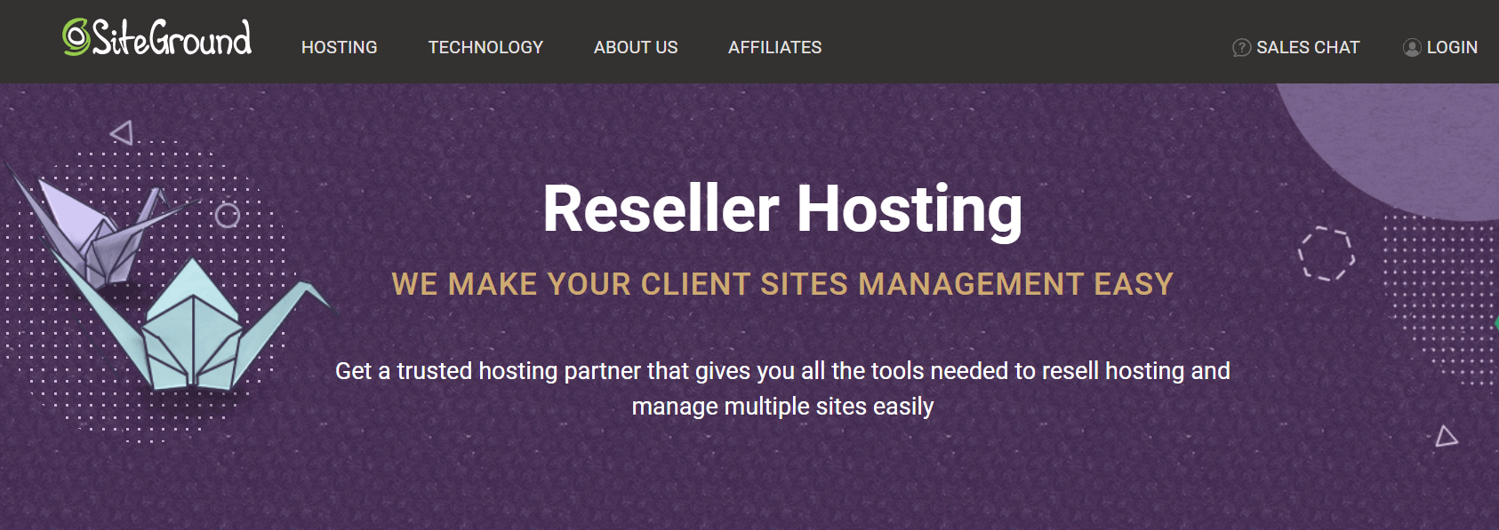 Siteground's reseller hosting page.