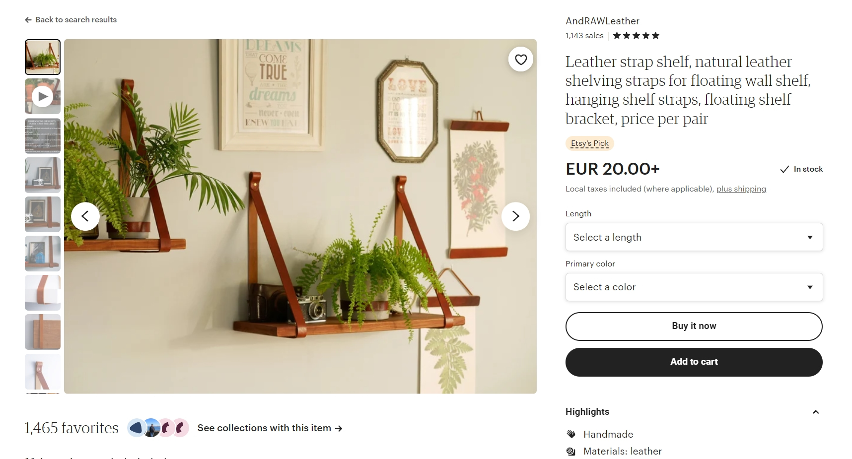 Shopify vs Etsy product pages - Etsy