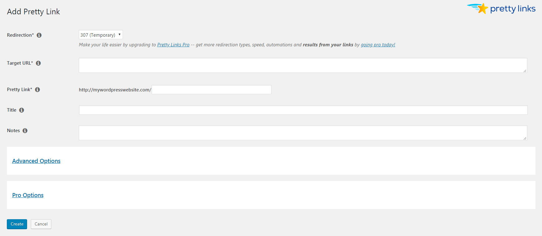 Adding a new Pretty Link for link optimization