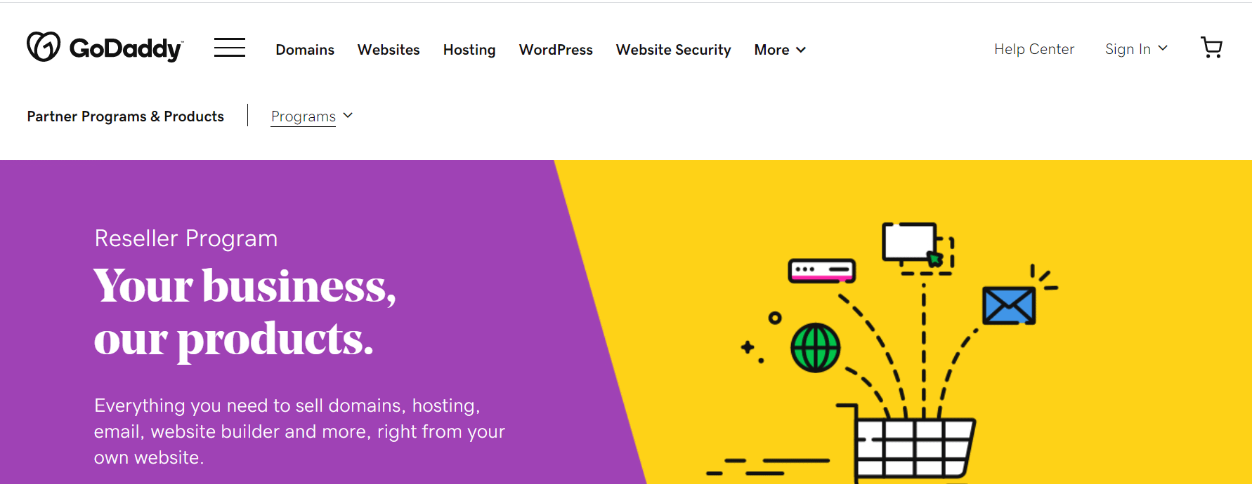 GoDaddy's hosting reseller page.
