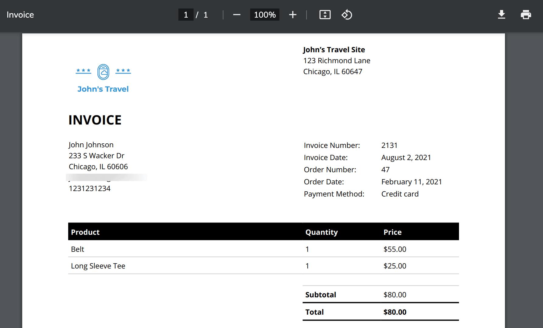 ver la factura en PDF de WooCommerce