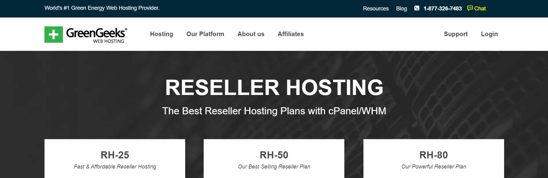 Green Geeks' reseller hosting page.