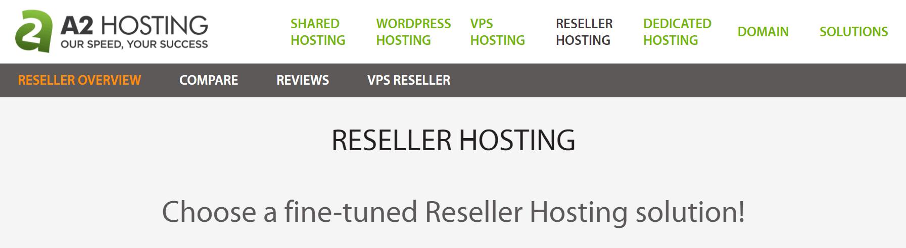 A2 Hosting's reseller hosting page.