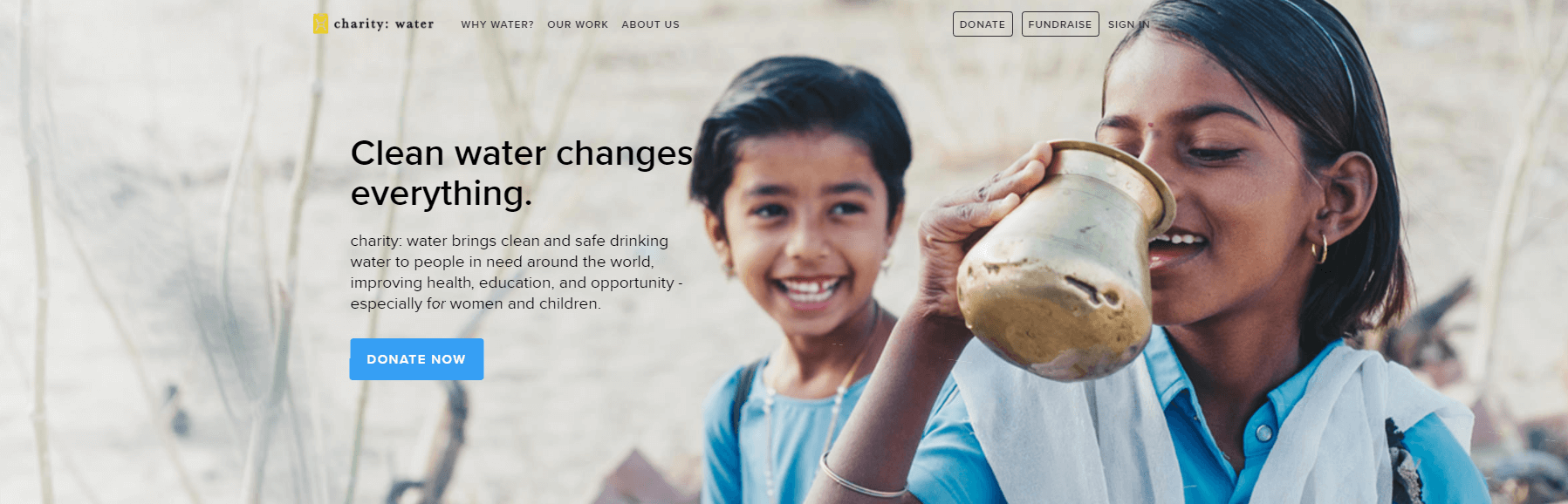 The Charity Water website.