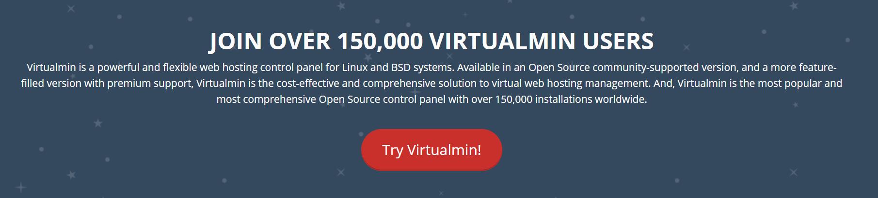 The Virtualmin homepage