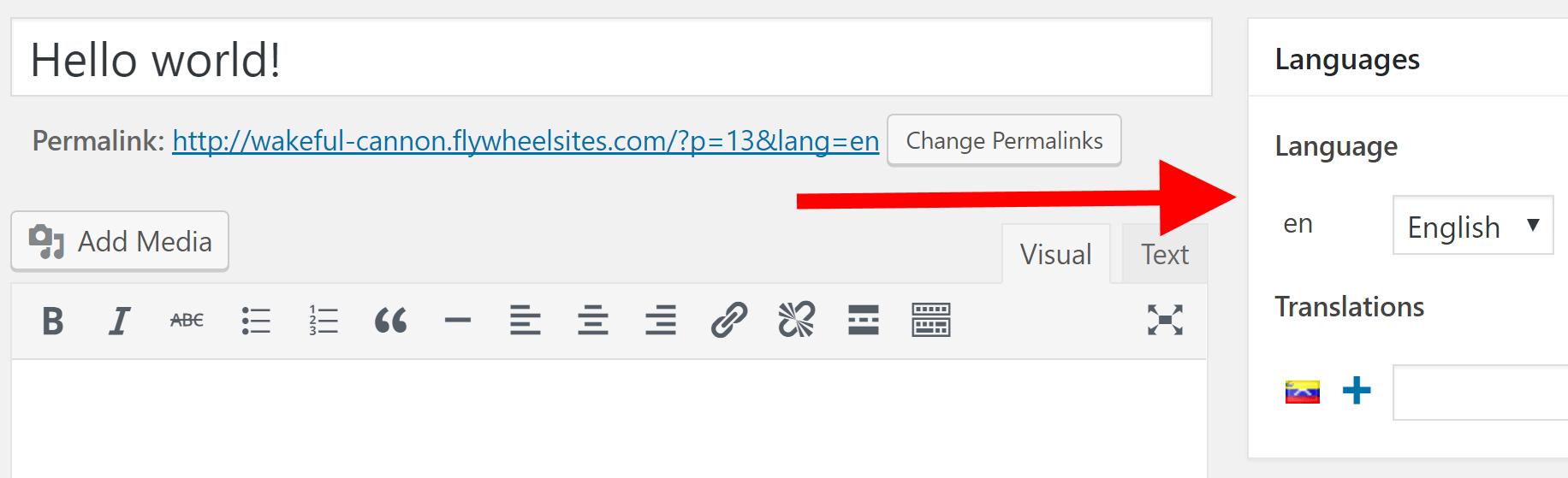 The Languages widget next to the WordPress editor.