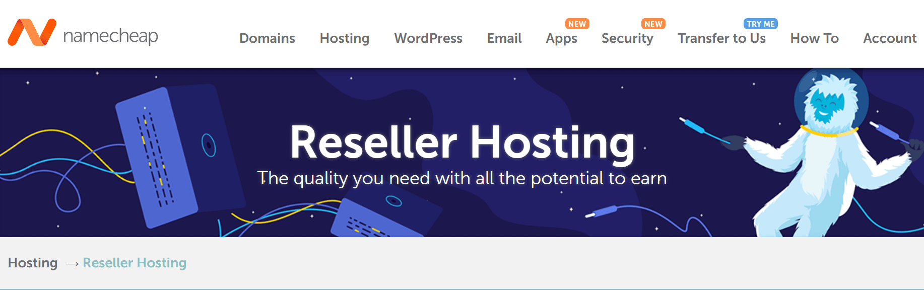 Namecheap's reseller hosting page.