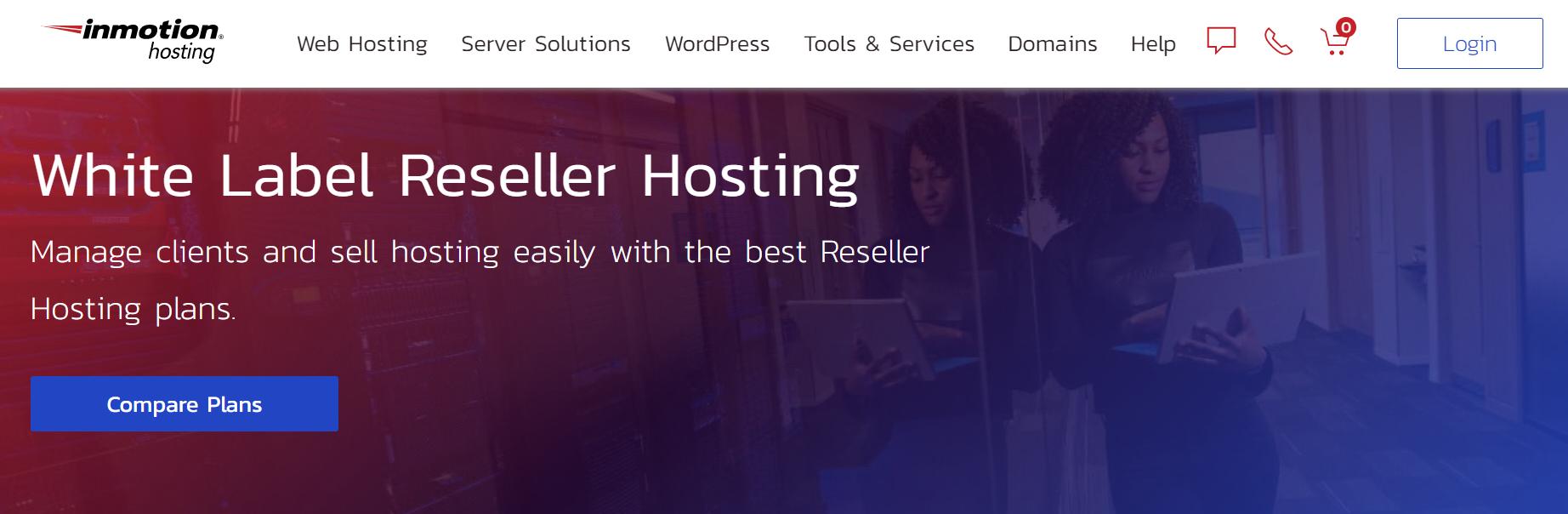 InMotion Hosting's hosting reseller page.