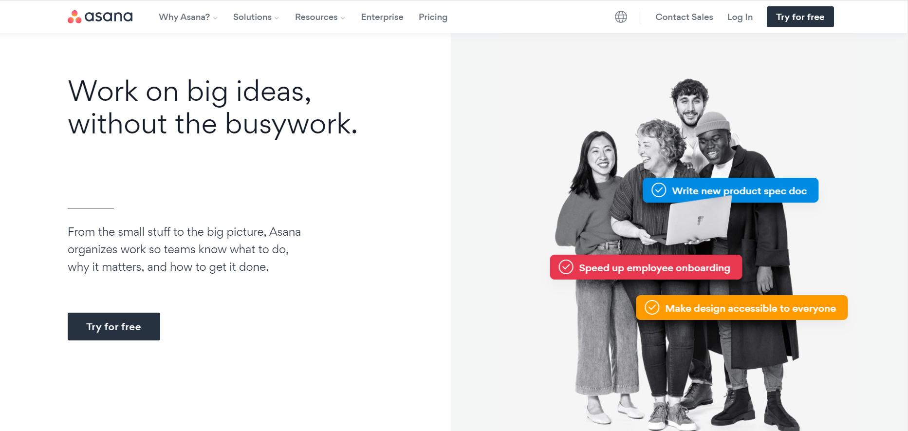 The Asana home page.