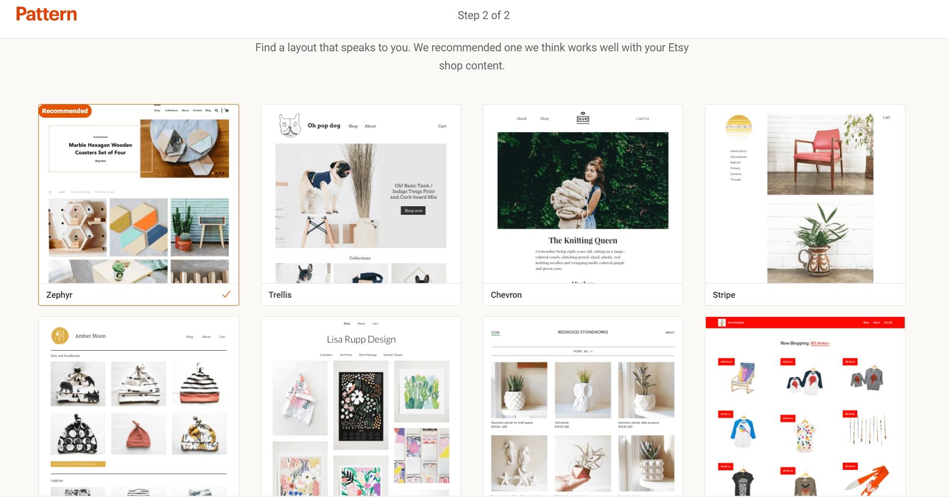 Shopify vs Etsy - templates