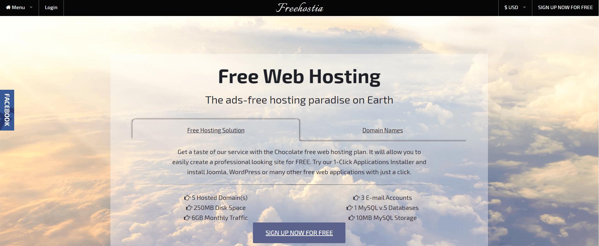 Free web hosting from Freehostia