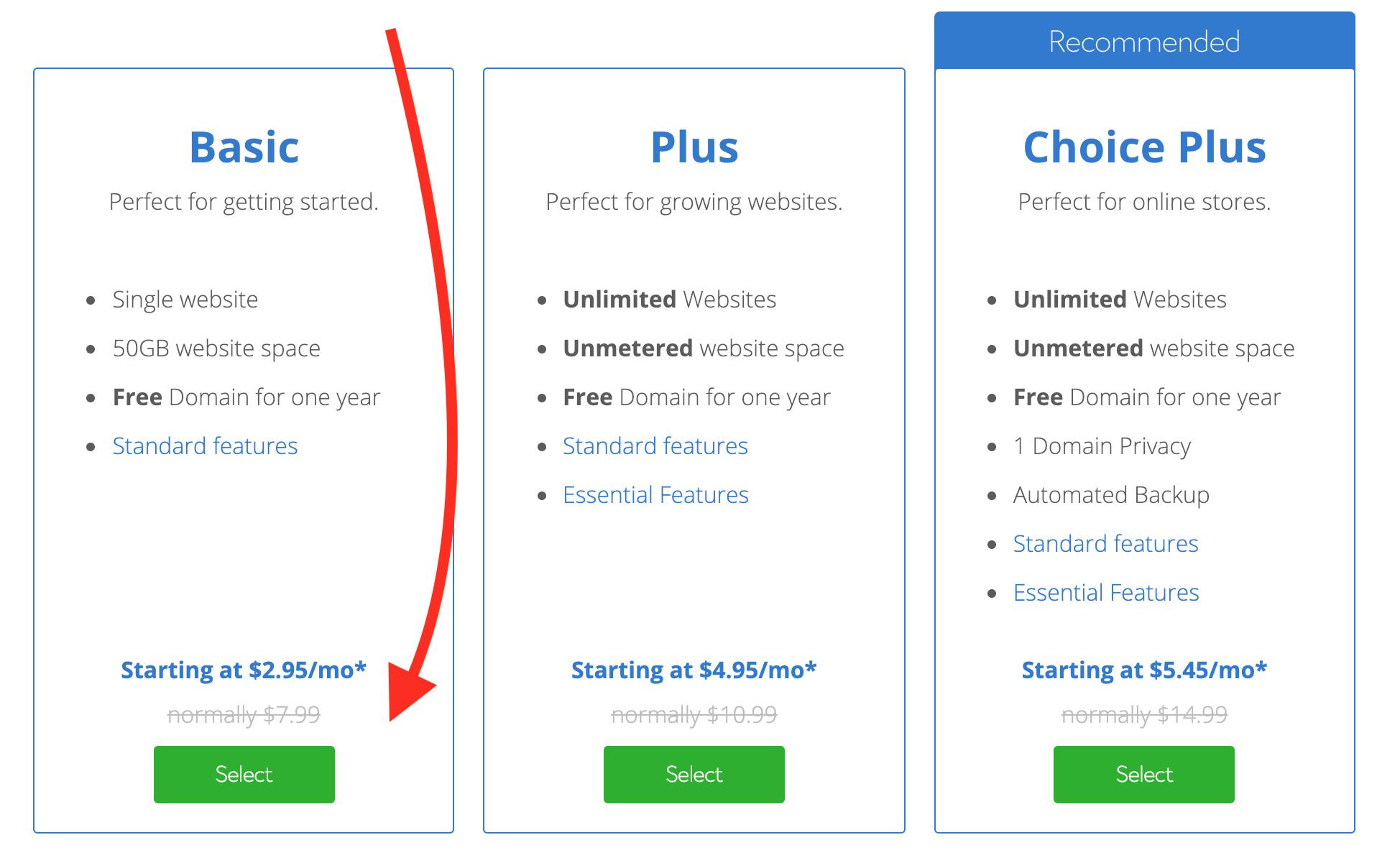 Bluehost basic - great hosting plan to create a WordPress blog