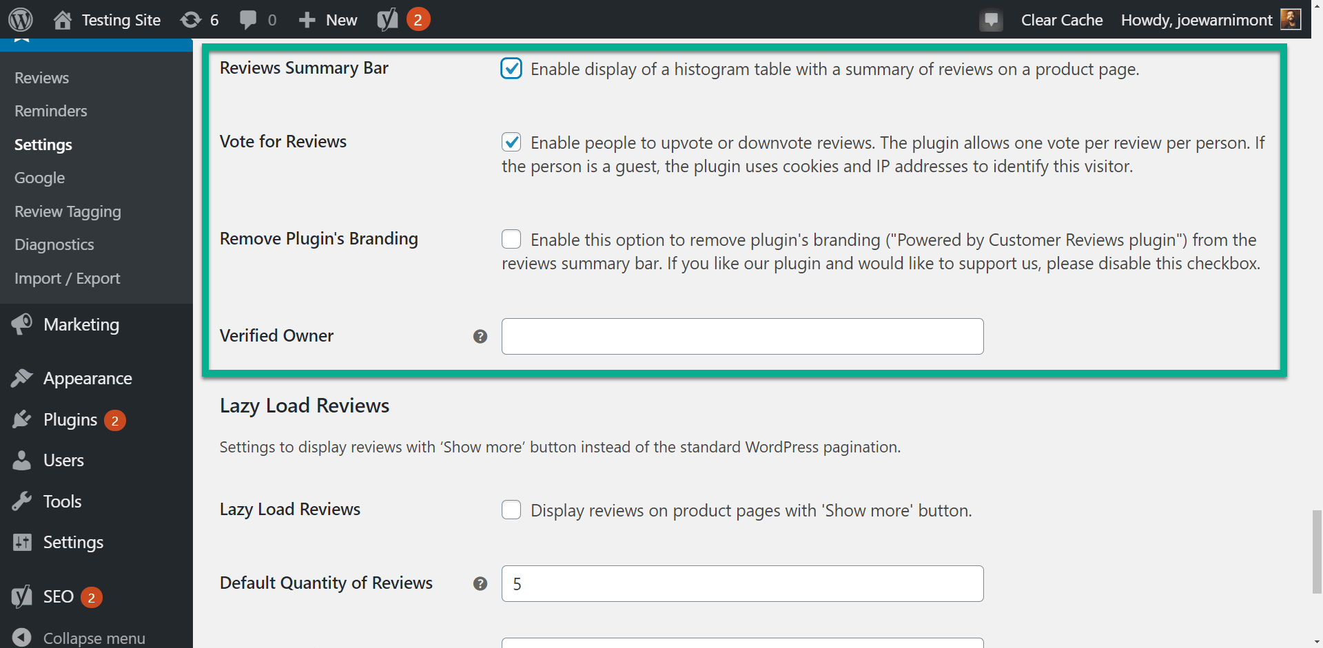 more settings on customer reviews for WooCommerce