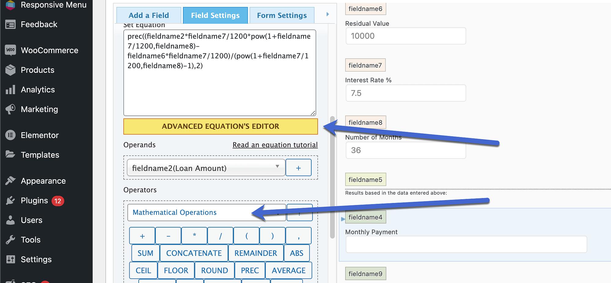 advanced equation editor from WordPress calculator plugins