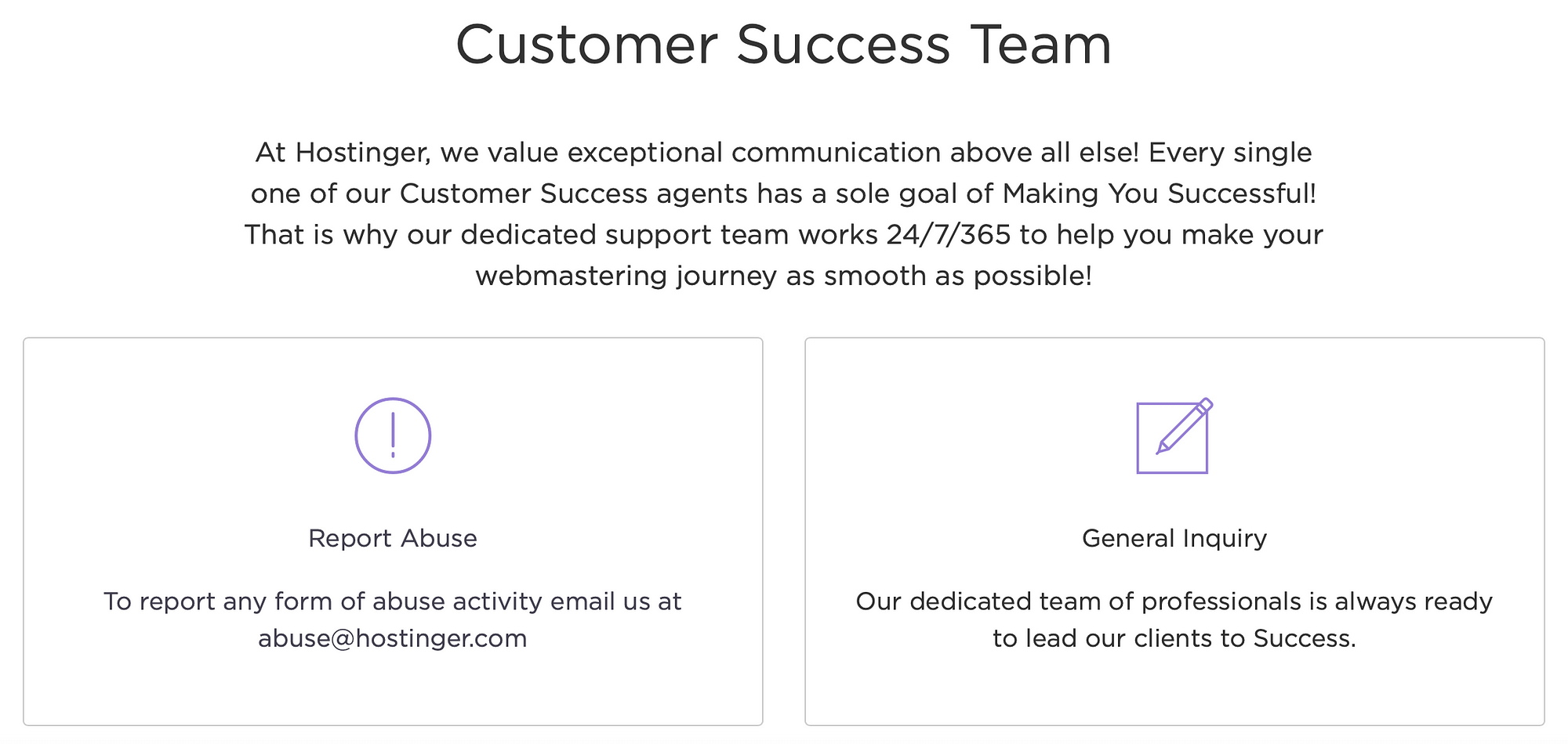 The Hostinger support contact page.