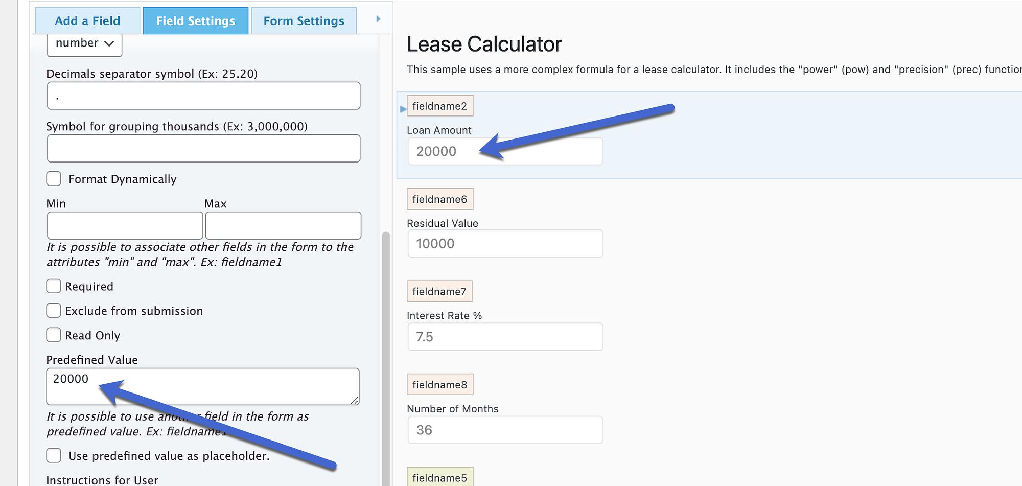 predefined value in the WordPress calculator plugins