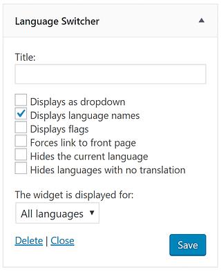 The Polylang language switcher widget.