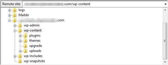 WordPress folders within FileZilla.