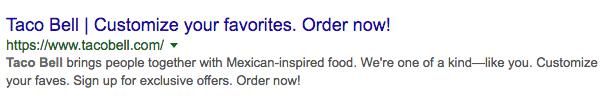 Taco Bell meta description