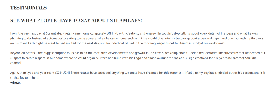 Testimonials at the Steamlabs website