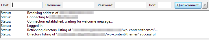 A FileZilla success message.