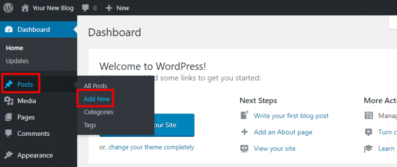 Creating a new post on a free WordPress blog