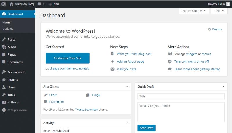 Your WordPress dashboard on a free WordPress blog