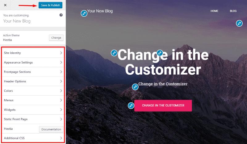 Using the WordPress customizer
