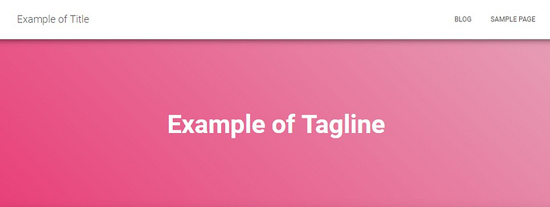 example of WordPress title and tagline