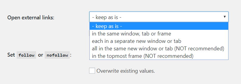 Setting links to open in a new window.