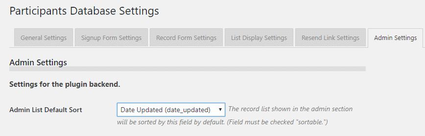 The admin settings tab.