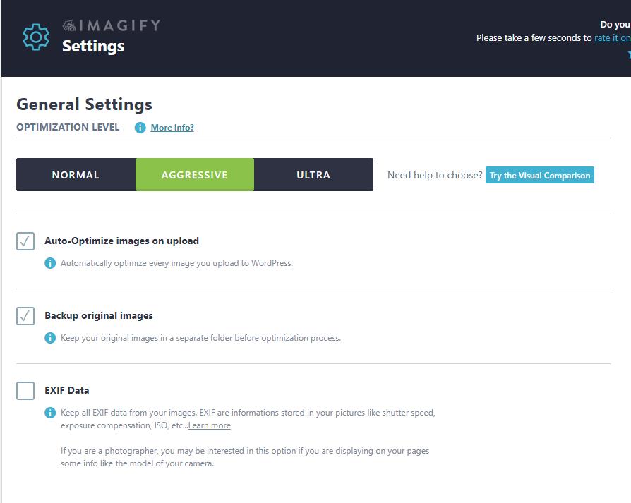 Imagify settings