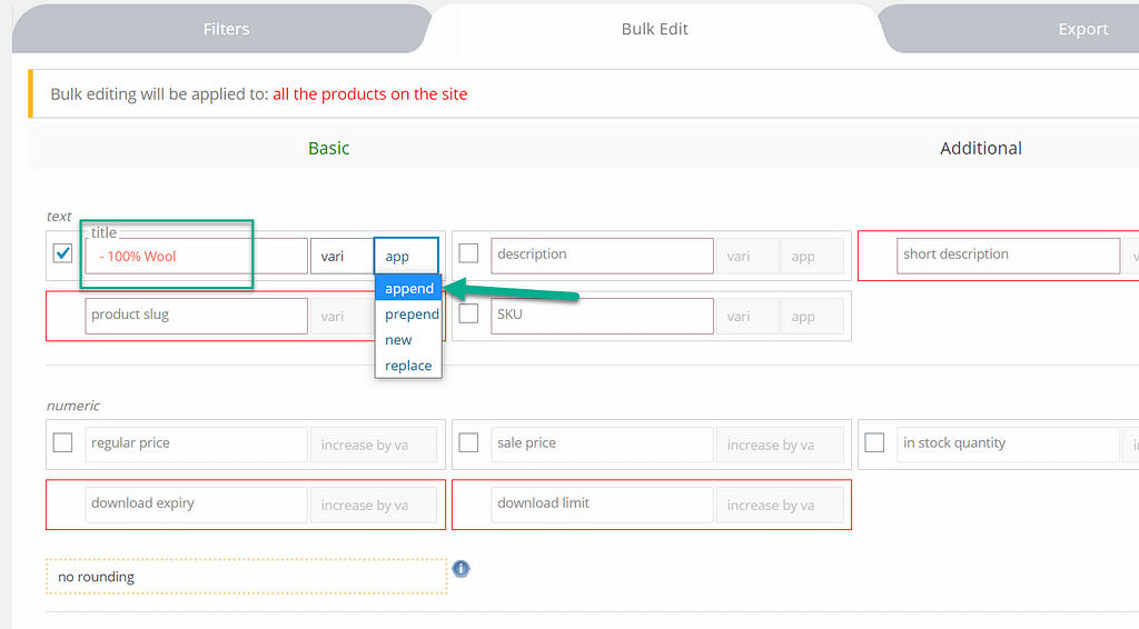 adicionar tag: editar em massa produtos WooCommerce