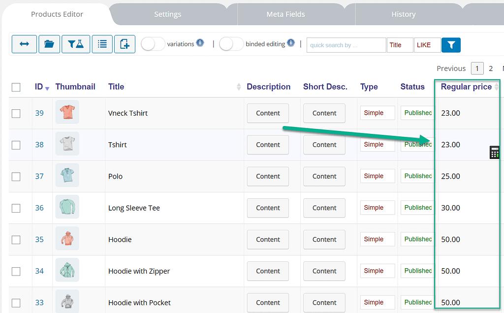 os preços mudaram - editar produtos WooCommerce em massa