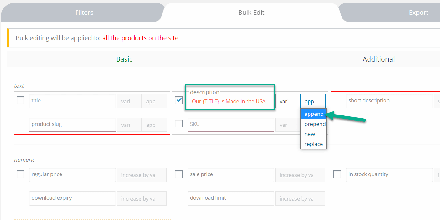 adicionar opção para editar produtos WooCommerce em massa