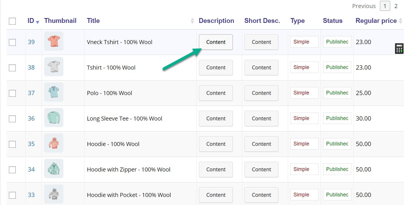 botão de conteúdo para editar produtos WooCommerce em massa