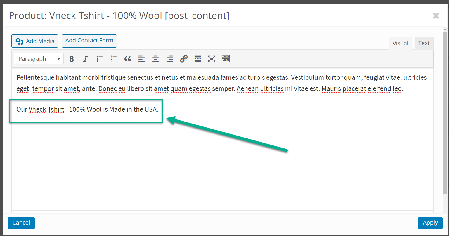 nova frase na descrição: edição em massa de produtos WooCommerce