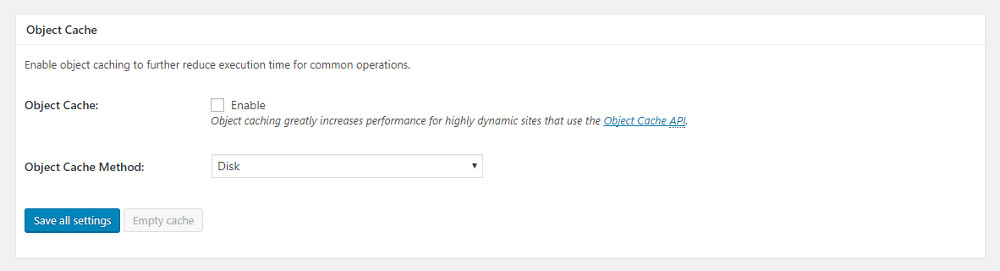 General settings: object cache