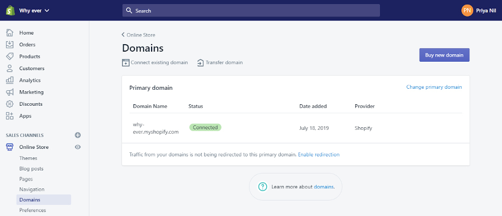 Shopify tutorial: Domains