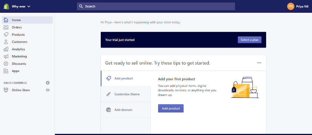 Shopify add product interface