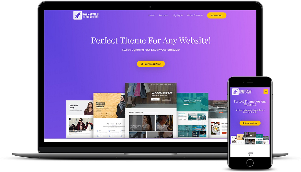 best free WooCommerce themes: Astra on desktop and mobile.