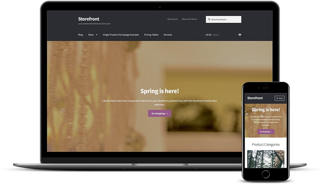 best free WooCommerce themes: Storefront on desktop and mobile.