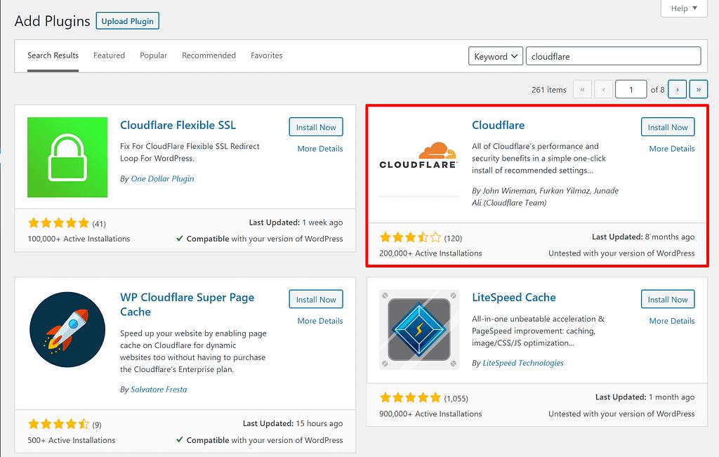 Cloudflare plugin for WordPress