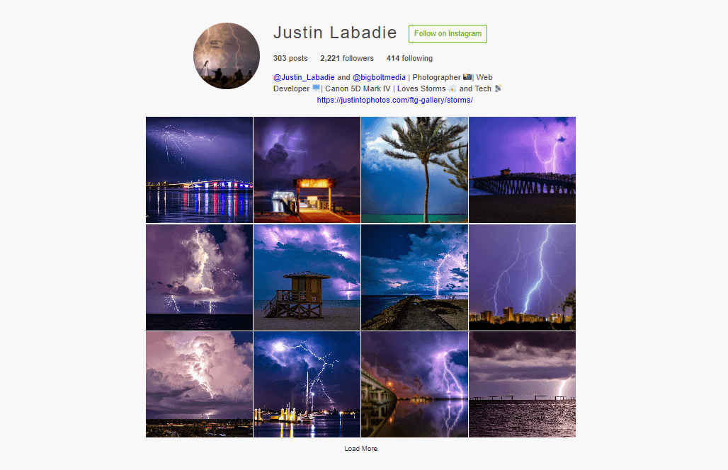 Plugin WordPress para Instagram: Feed Them Social Instagram feed demo.