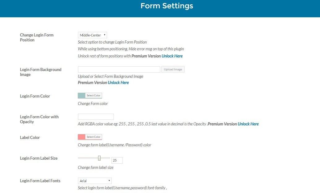 custom login creator settings