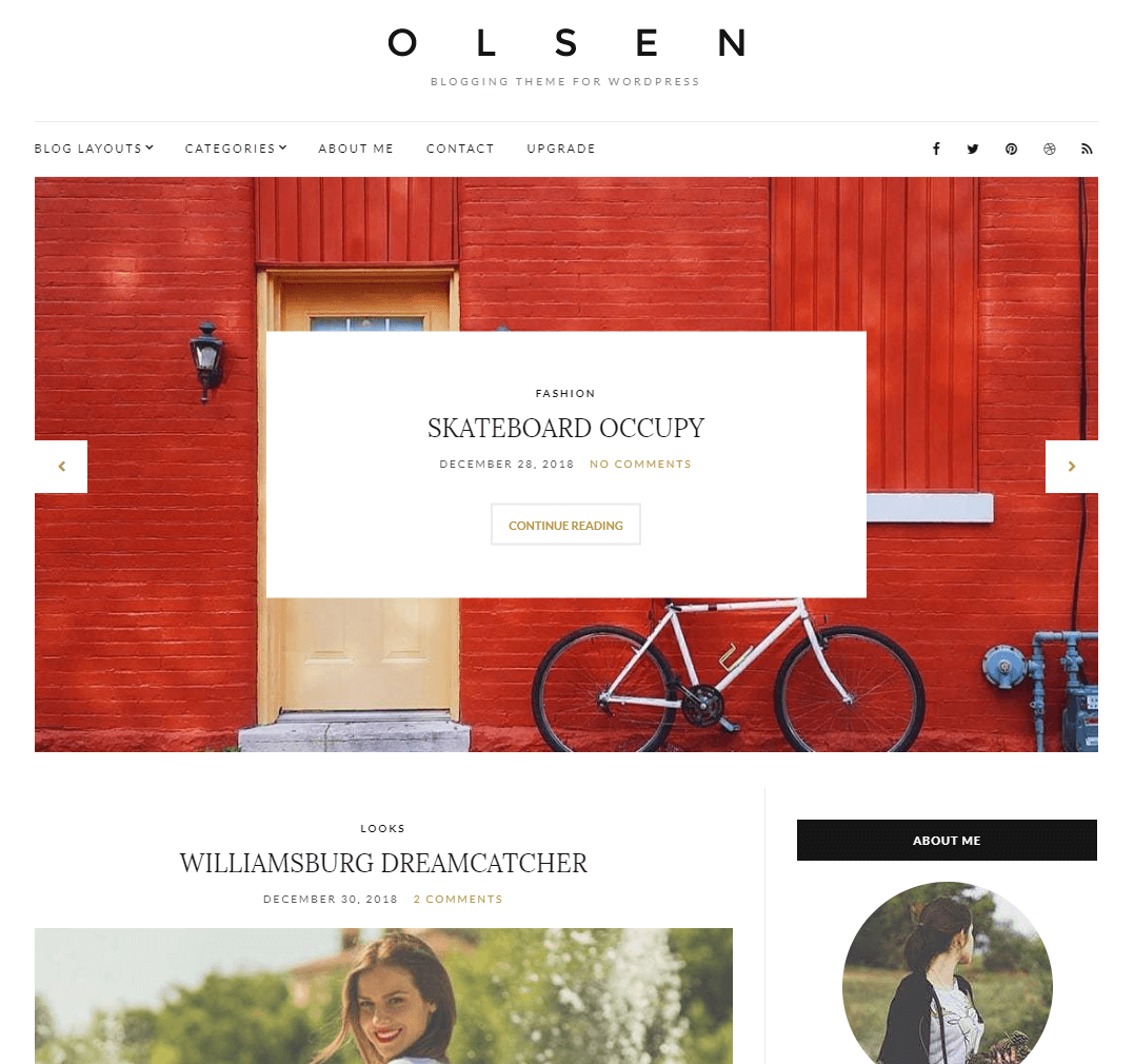 A desktop website built using Olsen Light.