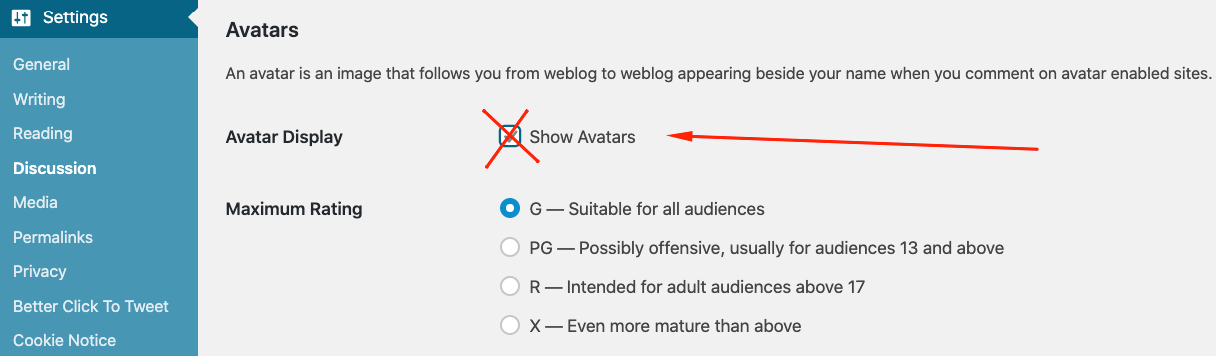 Improve WordPress performance when you deactivate avatars
