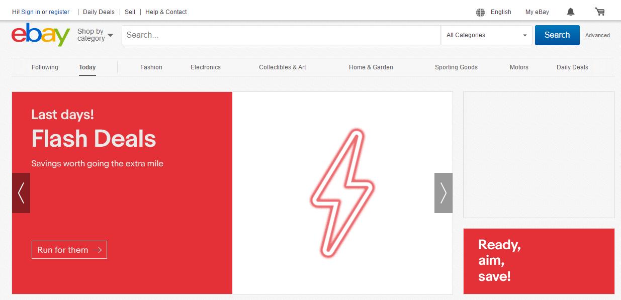 eBay's homepage.