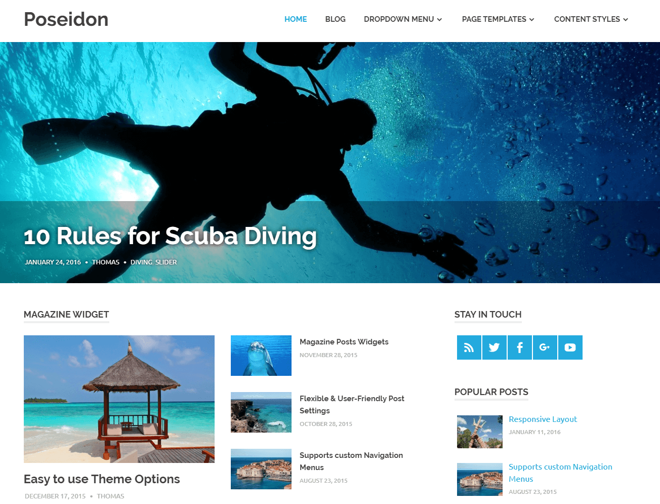 Poseidon free WordPress blog theme